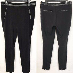 H&M Black Zip-Leg Ankle Stretch Slacks